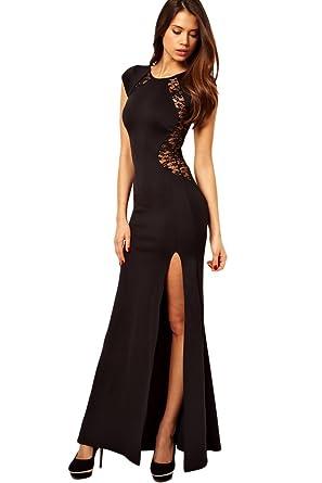 c8025c1ada441 Toocool - Abito vestito lungo donna inserti pizzo trasparente spacco  aderente DL-857 nero