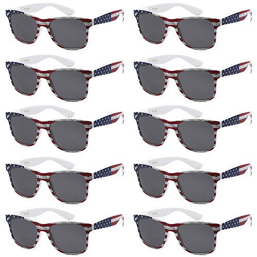 WHOLESALE UNISEX 80'S RETRO STYLE BULK LOT PROMOTIONAL SUNGLASSES - 10 PACK (American Flag / Smoke, 52 - Sunglasses Flag