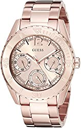 GUESS Women's U0633L2 Sporty Rose Gold-Tone Stainless Steel Watch with Multi-Function Dial