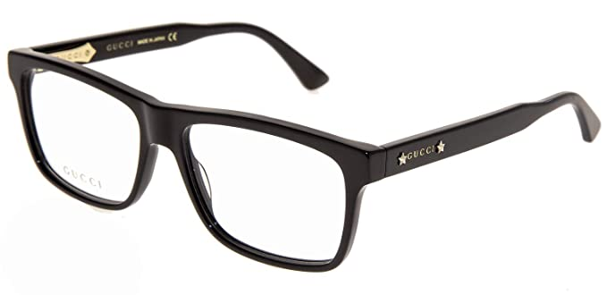 a30e87700a1 Image Unavailable. Image not available for. Color  GUCCI 0260 Black Square  Gold STAR RX Eyeglasses 58mm