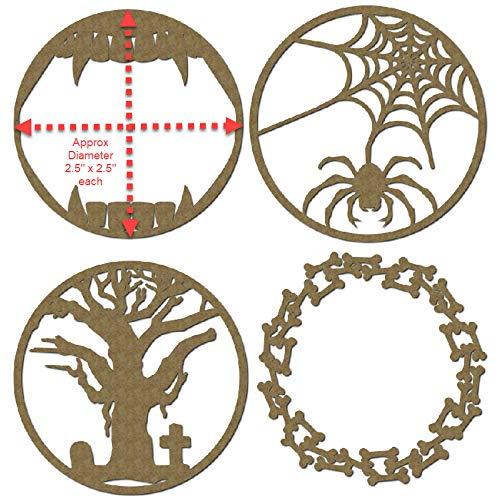 Laser Cut Scrapbook Chipboard Halloween Theme Artist Trading Coins 4 Piece Set