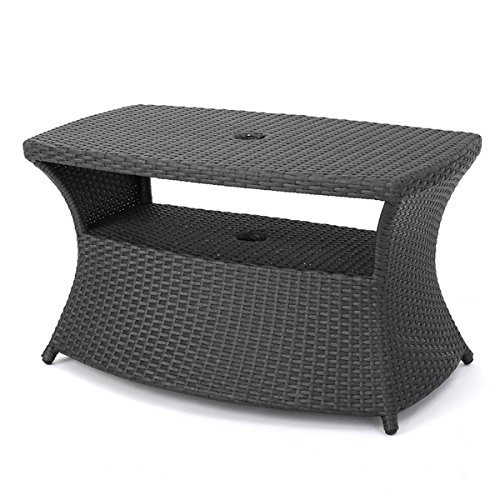 Berkeley Outdoor Wicker Side Table with Umbrella Hole by Christopher Knight Home