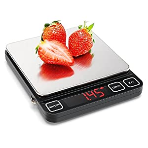 Digital Kitchen Scale with Red LED Display, Sooreally High Definition Multifunction Stainless steel Food Scale 11lb/ 5000g (Batteries Included)