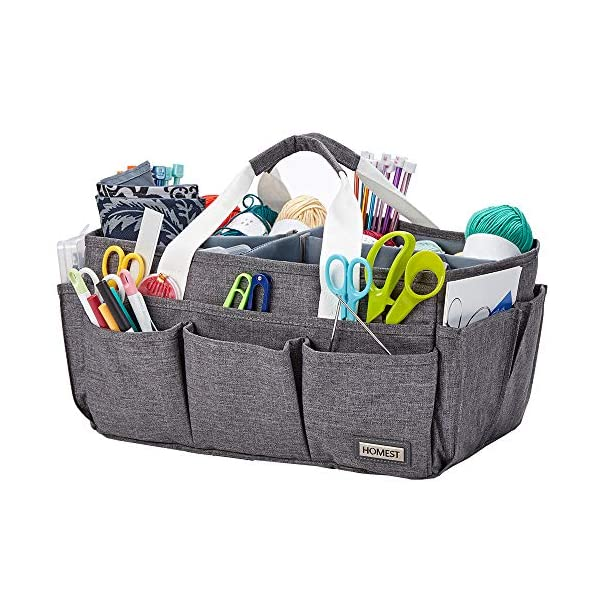 HOMEST Large Craft Caddy, Storage Bin for Sewing & Knitting & Crochet, Art Supplies Organizer Basket