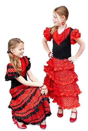 La Senorita Spanish Flamenco Dress Fancy Dress Costume - Girls/Kids - Red/Black