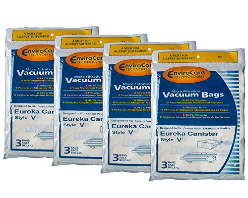 12 Eureka Allergy Style V Vacuum Bags, Power Team, Powerline, Canisters, World Vac, Home Cleaning System Vacuum Cleaners, 3800, 3900, 6700, 6800, 6865, 8000, 8200, 8900, 52358, 52358-12, 576898-12 (Filteraire), 54923-10, 6865 ()