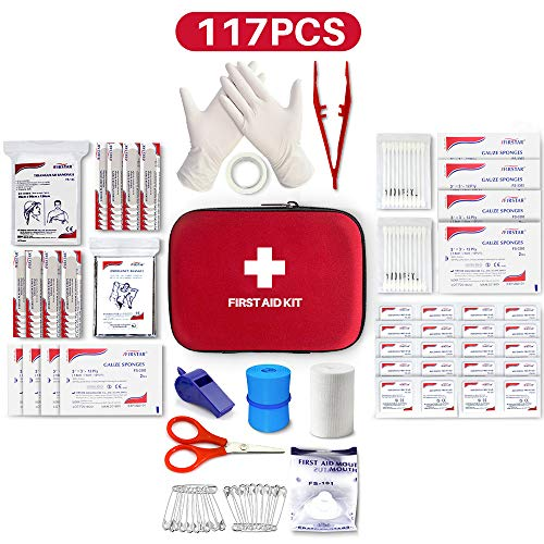 Best First Aid Kit, 117 Pieces Hard Case First Aid Kit Includes Emergency Foil Blanket, CPR Face Mask, Travel, Office, Workplace, Child Care, Hiking, Survival & Outdoor, Suitable For Group - Aid Case Hard First