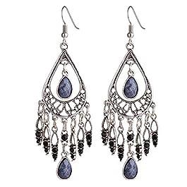 Bohemian Vintage Tassels Dangle Earring Fashion Boho Earrings for Women Girls-Gray