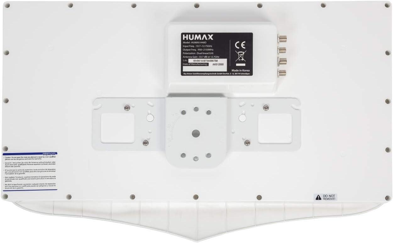 Humax digital h40d4 Flat Espejo Plano de Antena de satélite para 4 x participantes, Color Blanco