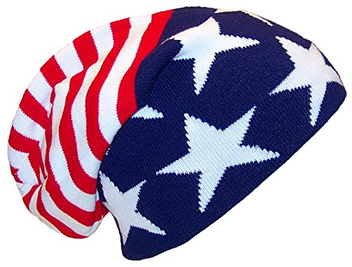 David & Young Adult American Flag Slouchy Cuffless Beanie (One Size) - American Flag W/Stars On Bottom