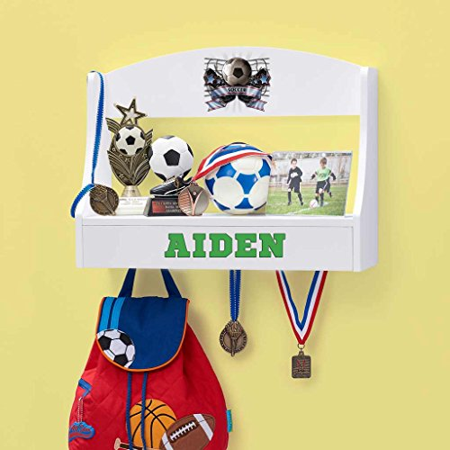 Personalized Trophy Shelf and Medal Holder (Soccer) (Hanging Letters Wall Sports)