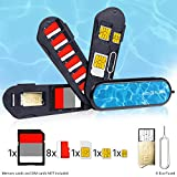 Swiss Knife Type Memory Card Case - 3 Storage Blades - Including Micro SD Reader (USB) and Eject Pin - Fits 1x SD, 6x Micro SD, 1x Mini SIM, 1x Micro SIM and 1x Nano SIM - Ideal for Phones and Tablets