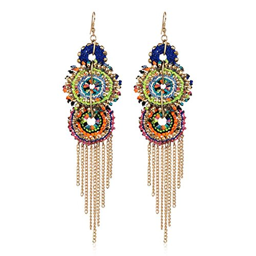 - Lux Accessories Gold Tone Bright Colorful Woven Festival Fringe Chandelier Earrings