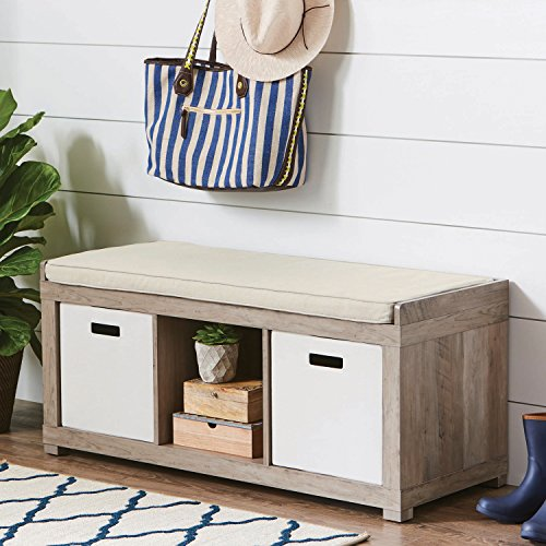 The Better Homes and Gardens 3 Cube Storage Bench (Rustic Gray) (Wooden Furniture Reel)