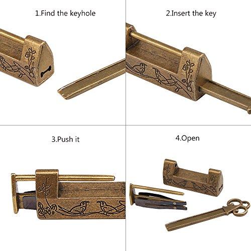 Padlocks /& Hasps Jewelry Box Drawer Vintage Carved Bird Flower Leaf Lock With