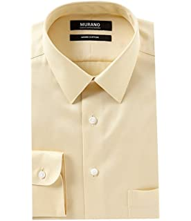 6a7140a3 Murano Liquid Cotton Slim Fit Point Collar Solid Dress Shirt F75DM010 Sand