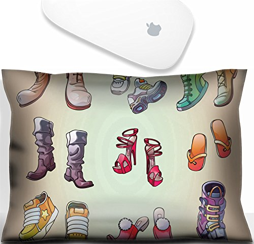 Luxlady Mouse Wrist Rest Office Decor Wrist Supporter Pillow Natural Rubber Mousepad. IMAGE: 20976801 The set of the original strange and casual footwear And even the one ski boot Editable (Footwear Natural Satin)
