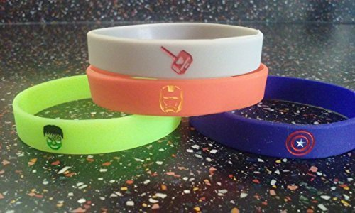 Glow in the Dark - Avengers Inspired Kids Bracelets and Birthday Party Favors (12) (Avengers Party Favours)