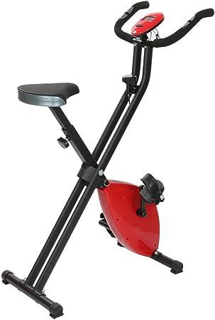 CRYPCP Bicicleta estática de Ejercicio Vertical Plegable, Resistencia magnética Volante Bicicleta Cardio Fitness Equipo de Bicicleta con Pantalla LCD- Altura Ajustable y Velocidad,Red: Amazon.es: Hogar