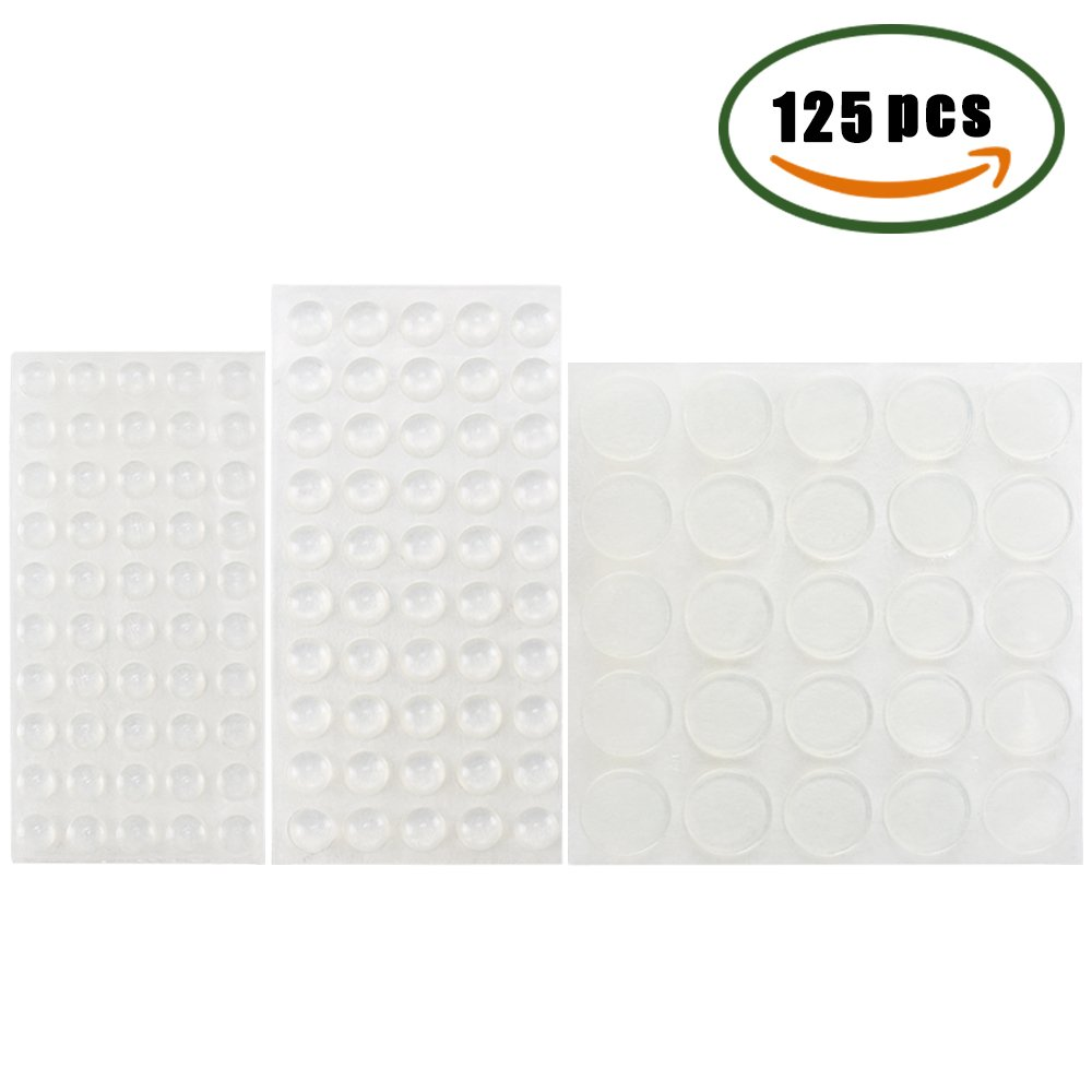 Plastic Bumper Pads MIHOUNION 125Pcs Clear Rubber Feet Self Adhesive Bumpers Pads Transparent Slicone Rubber Feet Self Stick Noise Sound Dampening Pads Rubber Buffer Pads for Doors Furniture