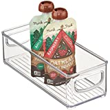 """mDesign Stackable Plastic Kitchen Pantry Cabinet, Refrigerator or Freezer Food Storage Bins with Handles - Organizer for Fruit, Yogurt, Squeeze Pouches - Food Safe, BPA Free, 10"""" Long - Clear"""