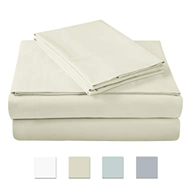 500 Thread Count 100% Cotton SheetSet, IVORY QUEEN Sheets, 4-piece Long Staple Combed Cotton BEST-SHEETS for bed,Breathable Soft&Silky Sateen Weave Fits Mattress upto18 deep pocket OEKO-TEX CERTIFIED