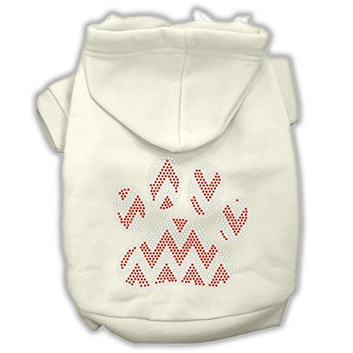 Candy Canes Hoodies Cream - Candy Cane Chevron Paw Rhinestone Dog Hoodie Cream M 12
