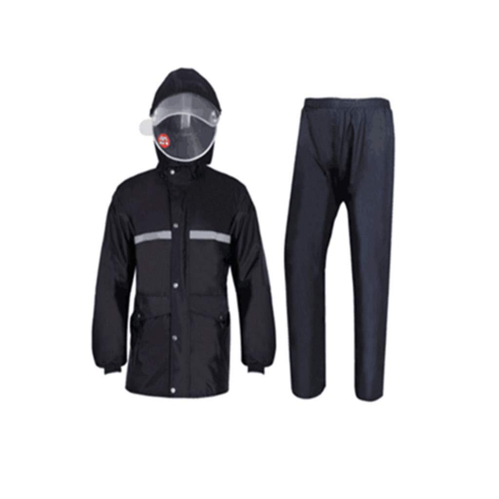 Noir XXXL JTWJ Pantalon imperméable imperméable Costume imperméable imperméable en Plein air Split Split, Double imperméable Double Chapeau, Noir (Couleur   Noir, Taille   XXXXL)