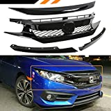 Fits for 2016-2018 Honda Civic FK8 Type-R Style Glossy Black Mesh Front Grille + Hood Bumper Nose Trim Cover