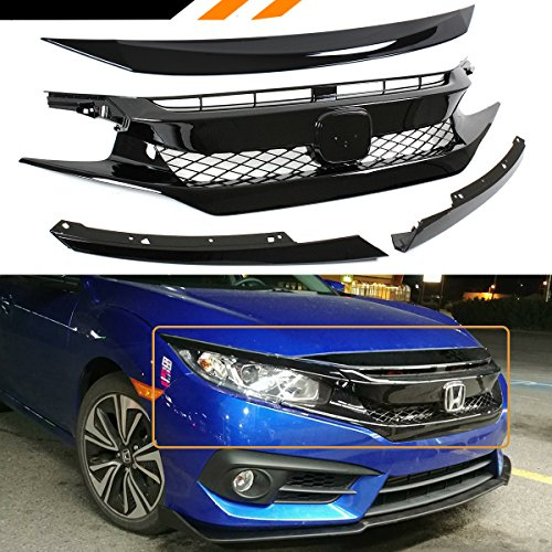 - Fits for 2016-2018 Honda Civic FK8 Type-R Style Glossy Black Mesh Front Grille + Hood Bumper Nose Trim Cover