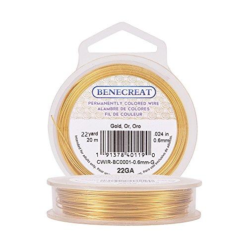 BENECREAT 22-Gauge Tarnish Resistant Gold Wire, 66-Feet/22-Yard