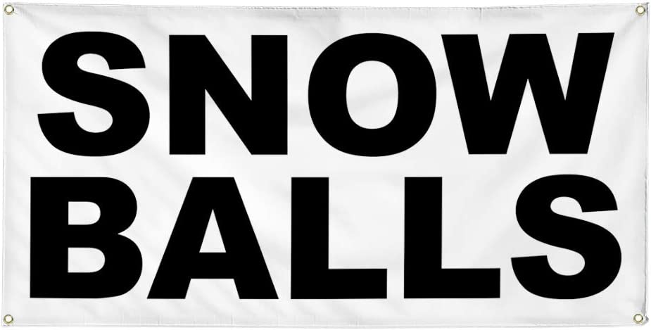 Vinyl Banner Multiple Sizes Snow Balls Black Business Outdoor Weatherproof Industrial Yard Signs 8 Grommets 48x96Inches