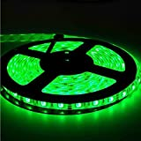 EverBright Super Brightness Green 5M(16.4Ft) 5050 SMD 30LED/M 150 LED Waterproof Flexible Light Strip PCB Black For Car truck Neon Undercar Lighting Kits Mall booth House decoration Stage music Coloreful lights