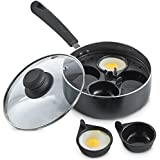 VonShef Egg Poacher Sauce Pan with Removable Poaching Cups and Glass Lid, BPA Free, 4 Cups