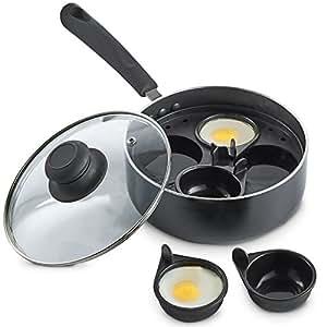 VonShef - Cacerola con huevo y tapa de cristal, sin BPA, 4 tazas