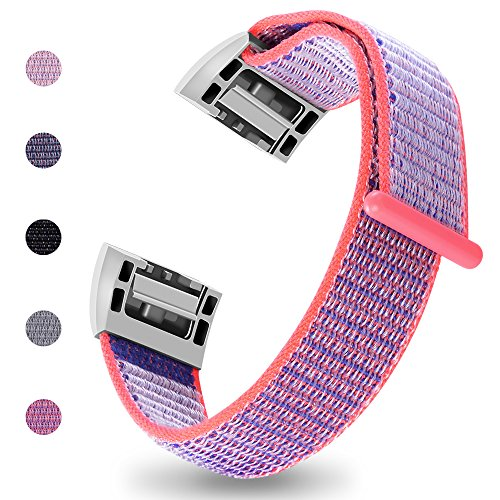 iGK Nylon Replacement Bands Compatible for Fitbit Charge 2, Premium Woven Nylon Adjustable Replacement Bands Breathable Sport Strap with Metal Connector Rose Small