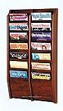 DMD Wall Mounted Magazine Rack, 14 Pocket Display, Mahogany Wood Finish