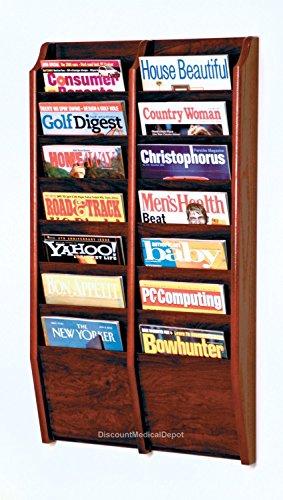 DMD Wall Mounted Magazine Rack, 14 Pocket Display, Mahogany Wood Finish by Discount Medical Depot LLC