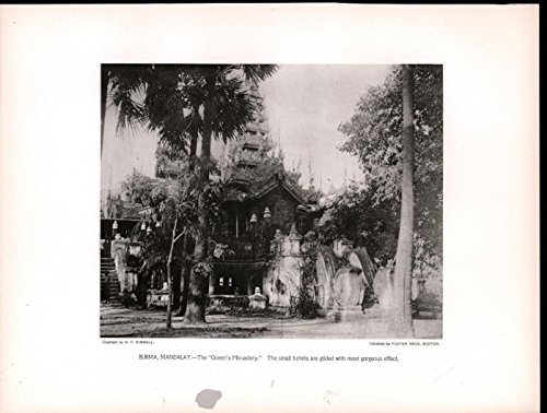 Queen Mandalay (Queens Monastery Gilded Mandalay Burma 1913 beautiful antique photogravure print)