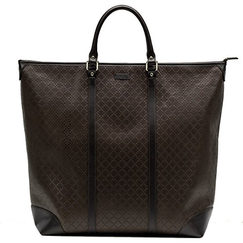 Gucci Diamante Leather Large Zip Top Unisex Tote Bag 308896, Brown (Bag Purse Gucci Handbag Tote)