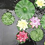 NAVAdeal Pack of 9 Artificial Floating Foam Lotus