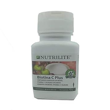 Biotina C Plus biológica NUTRILITE - Pelo Piel y Uñas (90 comprimidos). Este complemento alimenticio contiene biotina, vitamina C y colágeno.