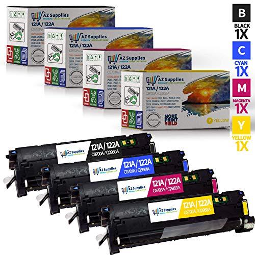 AZ Supplies Compatible Toner Cartridge Replacement for HP 121A / 122A (C9700A,C9701A, C9702A, C9703A) 4 Pack - 1 Black / 1 Cyan / 1 Magenta / 1 Yellow