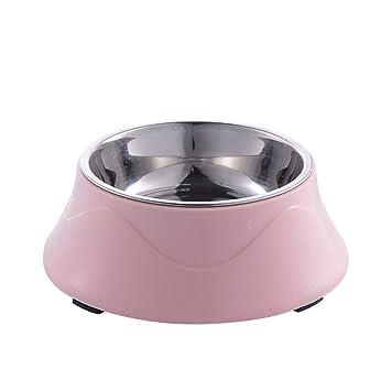 Scrox 1x Cuenco de Perro Gato Alimentos Bowl Acero Inoxidable Doble Capa Comedero para Mascotas Hervidor para Mascotas (Rosa)