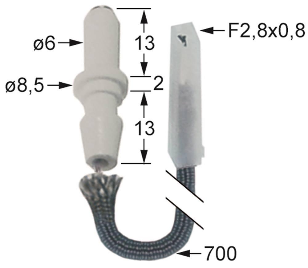 G6F6 Anschluss Flachstecker 2,8//0,8mm K/örperl/änge1 14mm /ø 6mm Bertos Z/ündelektrode f/ür G7F4E+FG1 G7F6E G7F6E+FG1 G7F4E