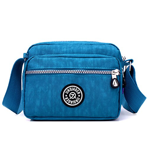 Outreo Bolsos de Mujer Bolso Bandolera Ligero Bolsas de Deporte Impermeable Moda Bolsos Casual Pequeña para Escuela Bolsas de Viaje Azul 2