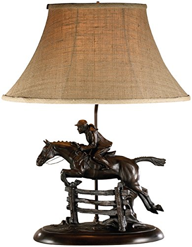 LodgeandCabins Over The Jump Lady and Horse Lamp, Bronze by LodgeandCabins