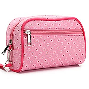 Iuhan Zipped Multifunctional Waterproof Portable Entrancing Travel Cosmetic Bag Makeup Case Storage Organizer Bag (A, Hot Pink)