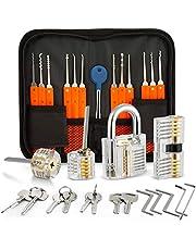 Eventronic 30+4 Lock Pick Set, 30-delige Lock Picking Tools met 4 transparante trainingssloten en handmatige en ritskoffer voor Lockpicking, Extractor Tool voor beginners en slotenmaker Training
