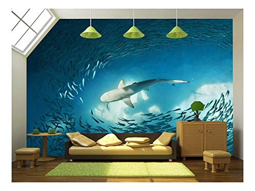 Shark and Small Fishes in Ocean Nature Background